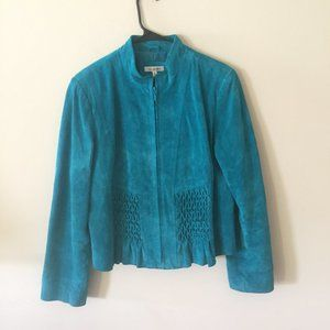 Yvonne & Marie teal suede leather jacket full zip